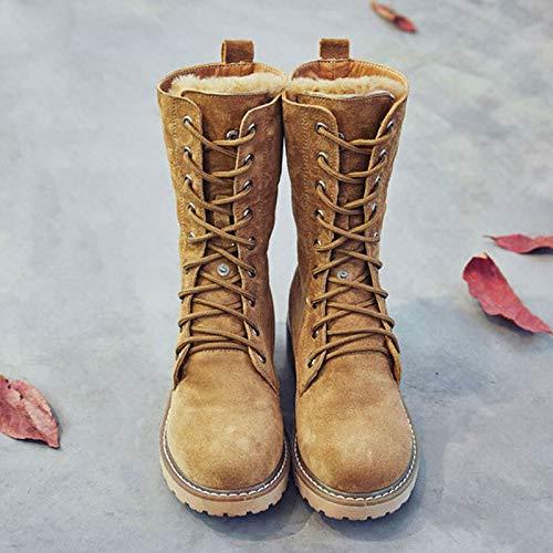 Shukun Stiefeletten Mid-Stiefel weibliche und flach-unten Herbst und weibliche Winter PU Stiefel schwarz Baumwolle Stiefel im Freien Schnee Stiefel Martin Stiefel Frauen 3dfb02