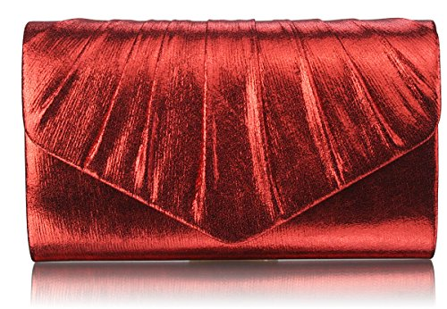 Womens Special party Occasion Any Ladies Designer Bag Handbags Style Or Evening Metallic Red Clutch 1 Envelope Purse For Design 6EPqfR