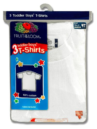 Fruit of the Loom Little Boys' Crew Tee,White,4T(Pack of 3)