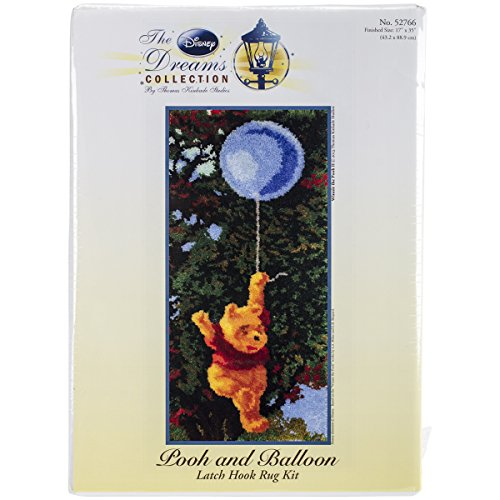 M.C.G. Textiles 52766 Pooh and Balloon Rug Disney Dreams Collection by Thomas Kinkade Latch Hook Kit, 17 by (Cross Stitch Latch Hook)