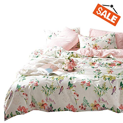 VClife Retro Bird Floral Bedding Sets Twin Girl Colorful Flower Pattern Bedding Collections, Pink Stripe Comforter Quilt Cover Sets, Pure Cotton Bedding Collection, Gift for Girl Female, Queen