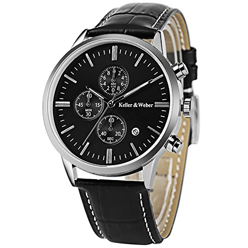 Men's Watches Perfect Gifts for Best Dad Fashion Business Chronograph Waterproof Analog Quartz Watch Classic Watch with Analogue Display Date Indicator (Black)