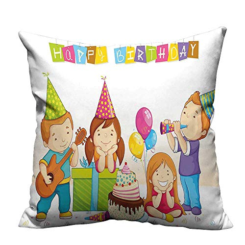 YouXianHome Print Bed Pillowcases Kids Colorful Kinderg en P Hats Cake Box Music Print Multicolor Washable and Hypoallergenic(Double-Sided Printing) 11x19.5 inch