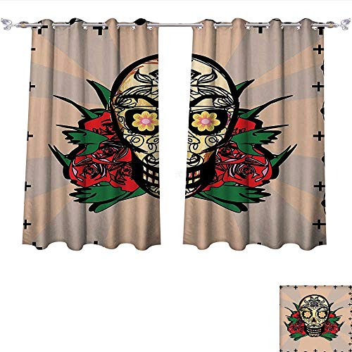 Qinqin-Home Window Curtain Fabric Mexican ations Sugar Skull with Red Rose and Cross Spooky Halloween Horror Mystic Art Theme Multi Drapes for Living Room (W72 x L84 -Inch 2 Panels)