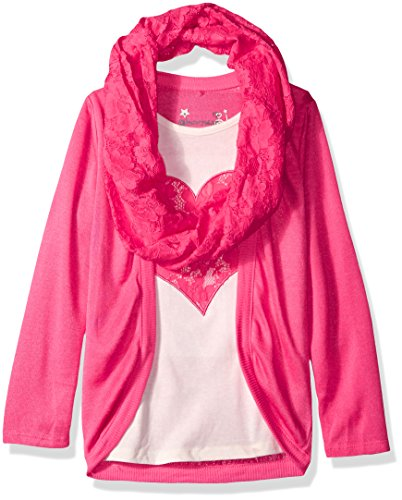 Price comparison product image Dream Star Big Girls' Hacci 2 Fer Screen and Lace Scarf,  Fandango Pink,  Large / 14