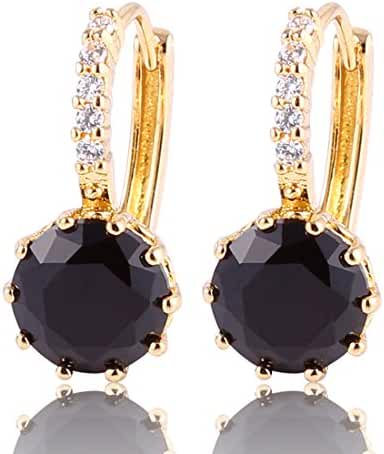 GUICX Gold Tone Captivating rhinestone Created Round black pearl Unique Party Earrings Hoop