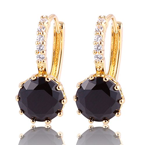 [GUICX Gold Tone Captivating rhinestone Created Round black pearl Unique Party Earrings Hoop] (Unique Costume Jewelry Rings)