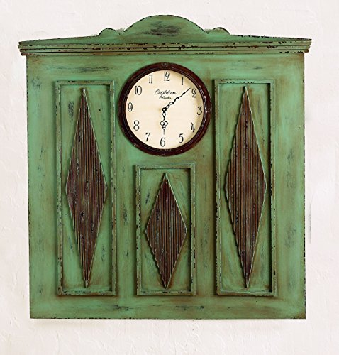 Distressed Blue Wood Wall Accent with Center Clock