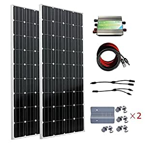 ECO-WORTHY 300 W monocristalino 12 V 24 V Off Grid Panel de carga ...