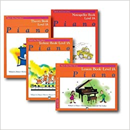 alfred basic piano library course pack level 1a four book set includes lesson theory technic and notespeller books
