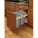 Rev A Shelf 4WCTM 18BBSCDM2 Double Pull Out Top Mount Wood And Silver Waste  Container With Ball Bearing Soft Close Slides, 35 Quart, Natural
