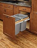Rev-A-Shelf 4WCTM-18BBSCDM2 Double Pull-Out Top Mount Wood and Silver Waste Container with Ball-Bearing Soft-Close Slides, 35 quart, Natural