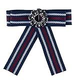 Shineland Women Crystal Boutonniere Flower Long Bow Tie Jabot Neck Cravat Brooch Pin (D-Blue)