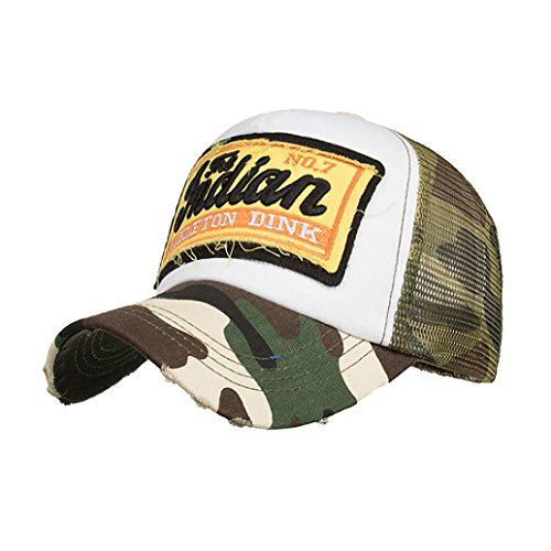 Challyhope Trendy Jndian Letters Embroidered Summer Mesh Hats Sun Cap Unisex Casual Trucker Hats Hip Hop Baseball Caps (Army Green)