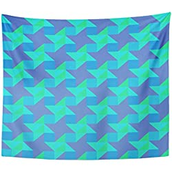 VaryHome Tapestry Blue Abstract Modern Colorful Triangular Trendy Endless Contemporary Geometric of Design Green Cool Home Decor Wall Hanging for Living Room Bedroom Dorm 50x60 Inches