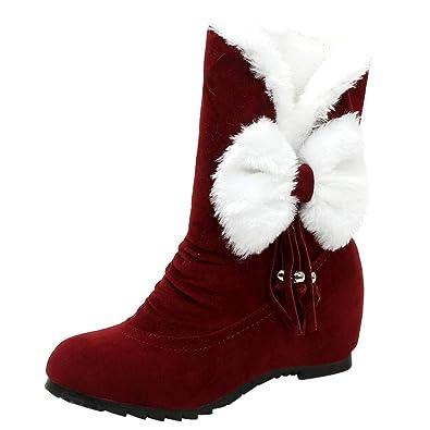 a065f8f2a1fd Femme Bottes De Neige en Daim Ankle Boots