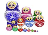 Set of 15 Big Belly Shape Blue and White Porcelain Colorful Basswood Wooden Traditional Russian Nesting Dolls Matryoshka Kids Stacking Toys Christmas Birthday Festival Gift