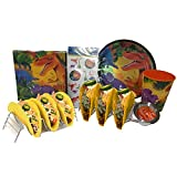 Dinosaur Taco Holder Set for Children, Includes 2 Taco Holders, Sauce Cup, Napkins, Plates, Cup, Dino Tattoos