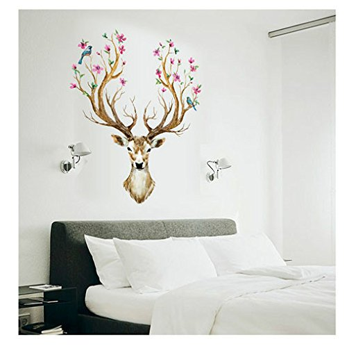 Oksale® 3D Plum Flower Deer Wall Sticker, 38 x 31 Inch, Kids Home Decor Sitting Living Room Bedroom PVC Removable Applique Papers Mural Decoration Decal (Oceans Song Lyric Wall Decal)
