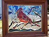 Stained Glass Bird Window Art Sun Catcher, Cardinal