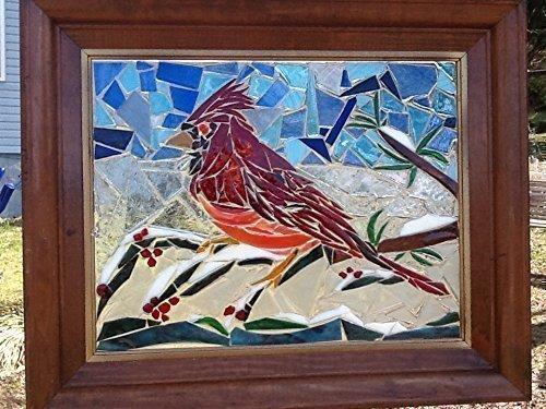 Stained Glass Bird Window Art Sun Catcher, Cardinal by Mountain Mosaics