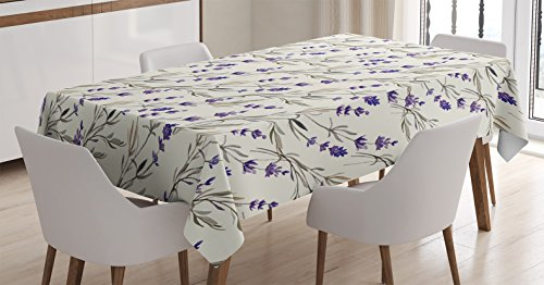 (Ambesonne Purple Decor Tablecloth, Lavender Paint Style Pattern French Fragrance Organic Herb Theme Country Cottage Print, Rectangular Table Cover for Dining Room Kitchen, 60x84 Inches, Violet Beige)