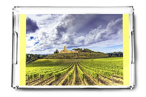 (Tuscany, Italy - Vineyards in the Chianti Region - Photography A-92479 (Acrylic Serving Tray))