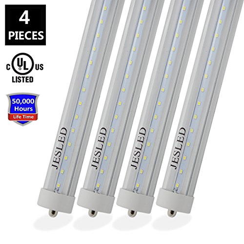 8' Single Light (JESLED T8/T10/T12 8FT 36W LED Tube Light, Single Pin FA8 Base, 5000K Daylight White, 3960 Lumens, 8 Foot Fluorescent Bulbs 75W Replacement, Clear Cover, Dual-Ended Power (4-Pack))