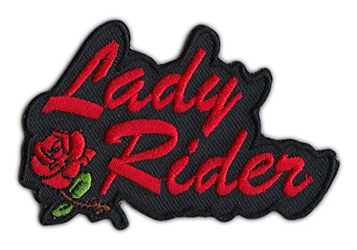 Motorcycle Biker Jacket or Vest Patch - Lady Rider w/Red Rose - Female, Lady - Biker Womens Jacket Textile