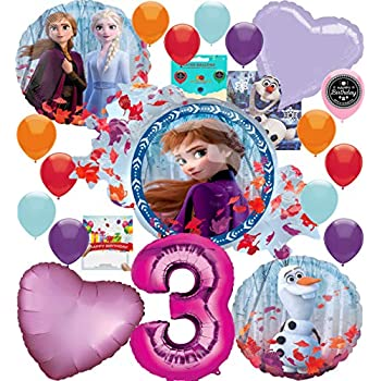 Frozen 2 Party Supplies Balloon Decoration Bouquet Bundle for 3rd Birthday