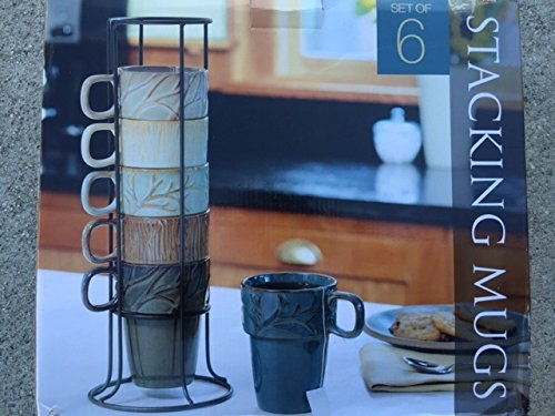 Ceramic Stacking Mugs With Metal Stand Amazoncouk Kitchen Home