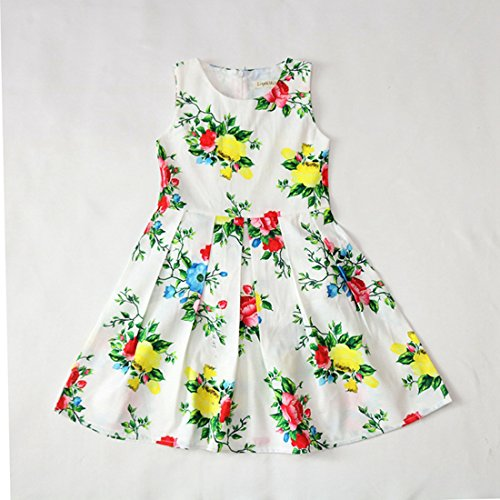 Swing Dress Flower Print Lined Rose Girl Flower Party Full Sleeveless Clothes Sundress Floral Summer Yellow Butterfly Thombase Baby qTzgEE