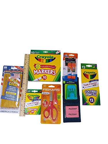 School Supply Basics - Supplies for Pre-School, Elementary and Middle School - Wide Ruled Notebooks, Wide Ruled Composition Books, Markers, Colored Pencils, Pencils, Crayons, Scissors, Glue Sticks by Mixed (Image #1)