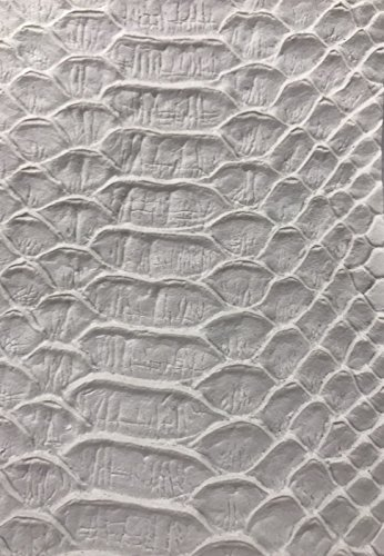 (White Faux Viper Snake Skin Vinyl-faux Leather-3D Scales-sold By The Yard.)