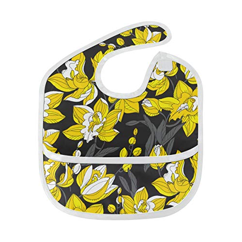 Beautiful Yellow Streak Custom Soft Waterproof Stain Odor Resistant Baby Feeding Dribble Drool Bibs Burp Cloth For Infant Overall For 6-24 Months Kid Gift ()