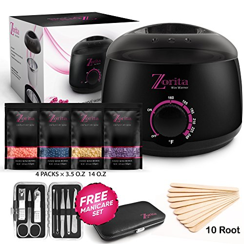 Wax Warmer Hair Removal kit,Professional home heater machine,Hot waxing melts pot stripless, facial body bikini brazilian with 4 pearl hard wax beans+Applicator sticks+Manicure set for Women & Men