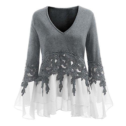 iTLOTL Fashion Womens Casual Applique Flowy Chiffon V-Neck Long Sleeve Blouse Tops(Gray,US-18/CN-XXXXL)