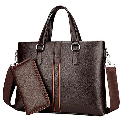 Shoulder Capacity Bag Computer Business Handbag Messenger Fashion Leisure Horizontal Brown2 's Large Men wqRTW6nIfq