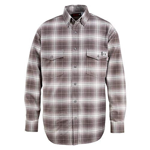 (Wolverine Men's Flame Resistant Plaid Twill Shirt, Charcoal, Medium)