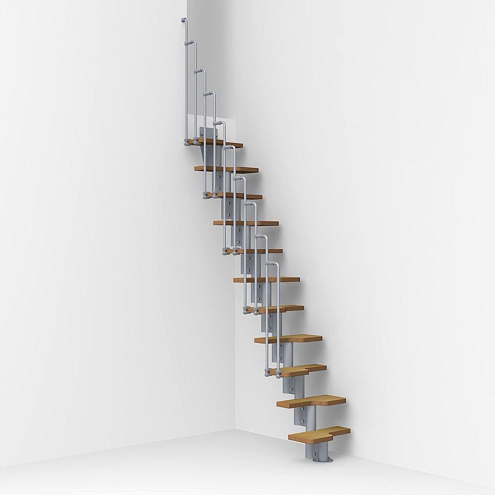 Arke Nice2 Modular Stairway Kit - 82-1/4'' to 111'' - Satin GREY - Adjustable, Space-savings Staircase with an Alternating Tread Design