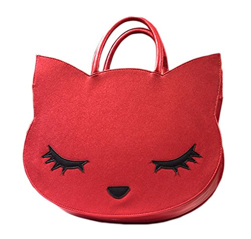 XMLiZhiGu Women's Girls Cute Animal Casual Tote Bag Cartoon Fashion Cat Handbag Red by XMLiZhiGu