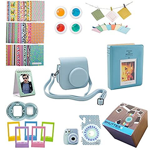 Fujifilm Instax Mini 9 or Mini 8/ 8+ Instant Camera Accessories 11 Piece Gift set Includes BLUE Case with Strap, Fujifilm Albums, Filters, Selfie lens, Hanging + Creative Frames, stickers &