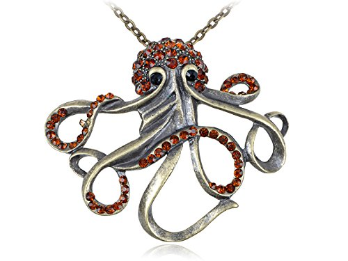 Alilang Antique Brass Tone Smoked Red Topaz Colored Rhinestones Octopus Steampunk Pendant -