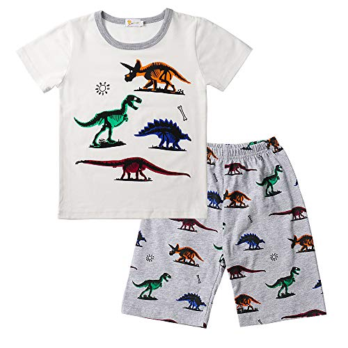 Toddler Boys Pajamas Easter Little Kids Pjs Dino Sleepwear 2 Clothes Sets Outfit (3-4T, Dinosaur-White)