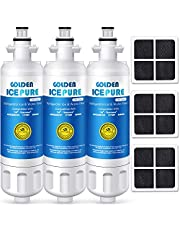 GOLDEN ICEPURE NSF Certified Refrigerator Water Filter, Compatible with LG LT700P, ADQ36006101, and LT120F, Kenmore Elite 469918 Water Filter and Air Filter Combo (3-Pack)