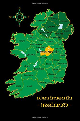 Westmeath Ireland Map.Westmeath Ireland County Map Irish Travel Journal Republic Of