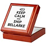 CafePress - The 100 - Keep Calm & Ship Bellarke - Keepsake Box, Finished Hardwood Jewelry Box, Velvet Lined Memento Box
