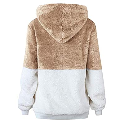 Women Casual Double Fuzzy Sweatshirt Faux Fleece Zip Pullover Hoodies Coat Outwear S-XXL at Women's Coats Shop