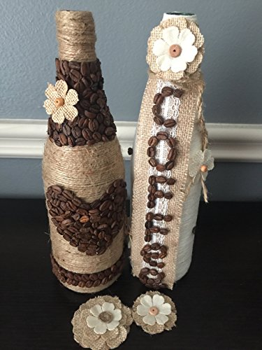 Wine Bottles. Glass Bottles. Decorated Bottles. Decoupage Bottles. Home Decor. Centerpieces. Vases. Craft Bottles. Art. Yarn Bottles. Displays.Handmade. Decorations.Coffee Bean Bottles.Table Display.