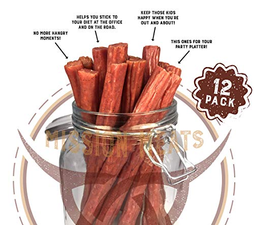 (Keto Sugar Free Range Turkey Jerky Sticks Gluten MSG Nitrate & Nitrite Free Paleo Snacks Healthy Natural Meat Sticks)